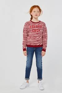 WE Fashion sweater met zebraprint lichtroze/rood, Lichtroze/rood