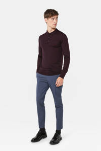 WE Fashion wollen slim fit polo donkerpaars, Donkerpaars