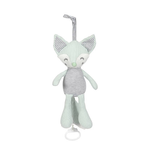 Tiamo muziekdoosje Foxy Fox 30 cm mintgroen grijs