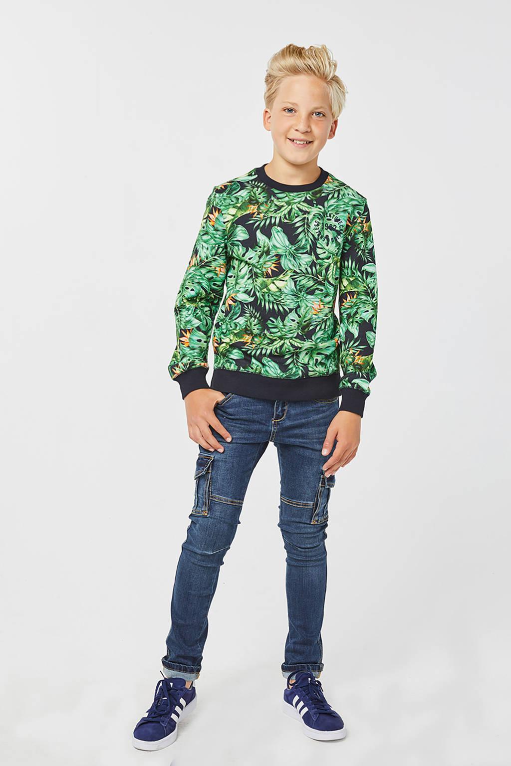 WE Fashion sweater met bladprint groen/zwart, Groen/zwart
