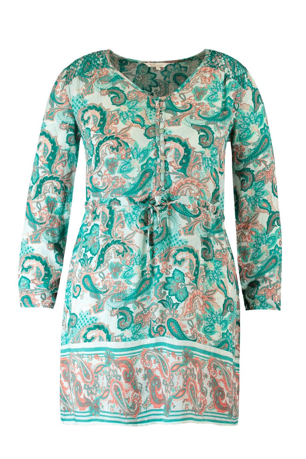 MS Mode jurk met all over print blauw, Blauw/wit/bruin