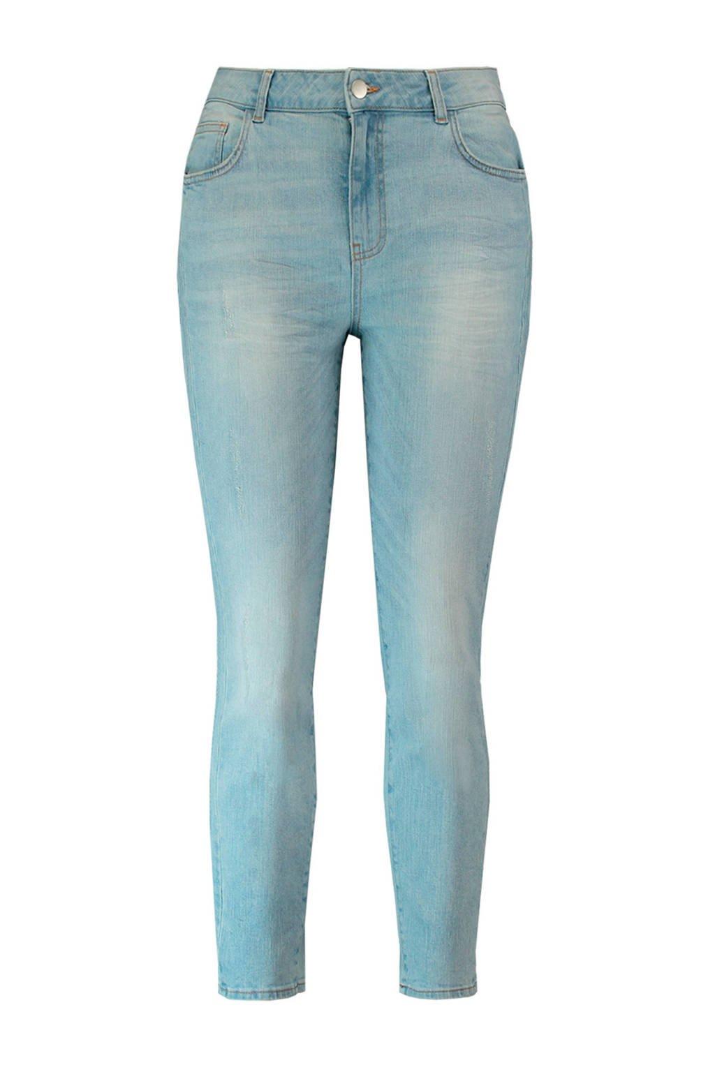 MS Mode slim fit jeans met slijtage details, Bleached denim
