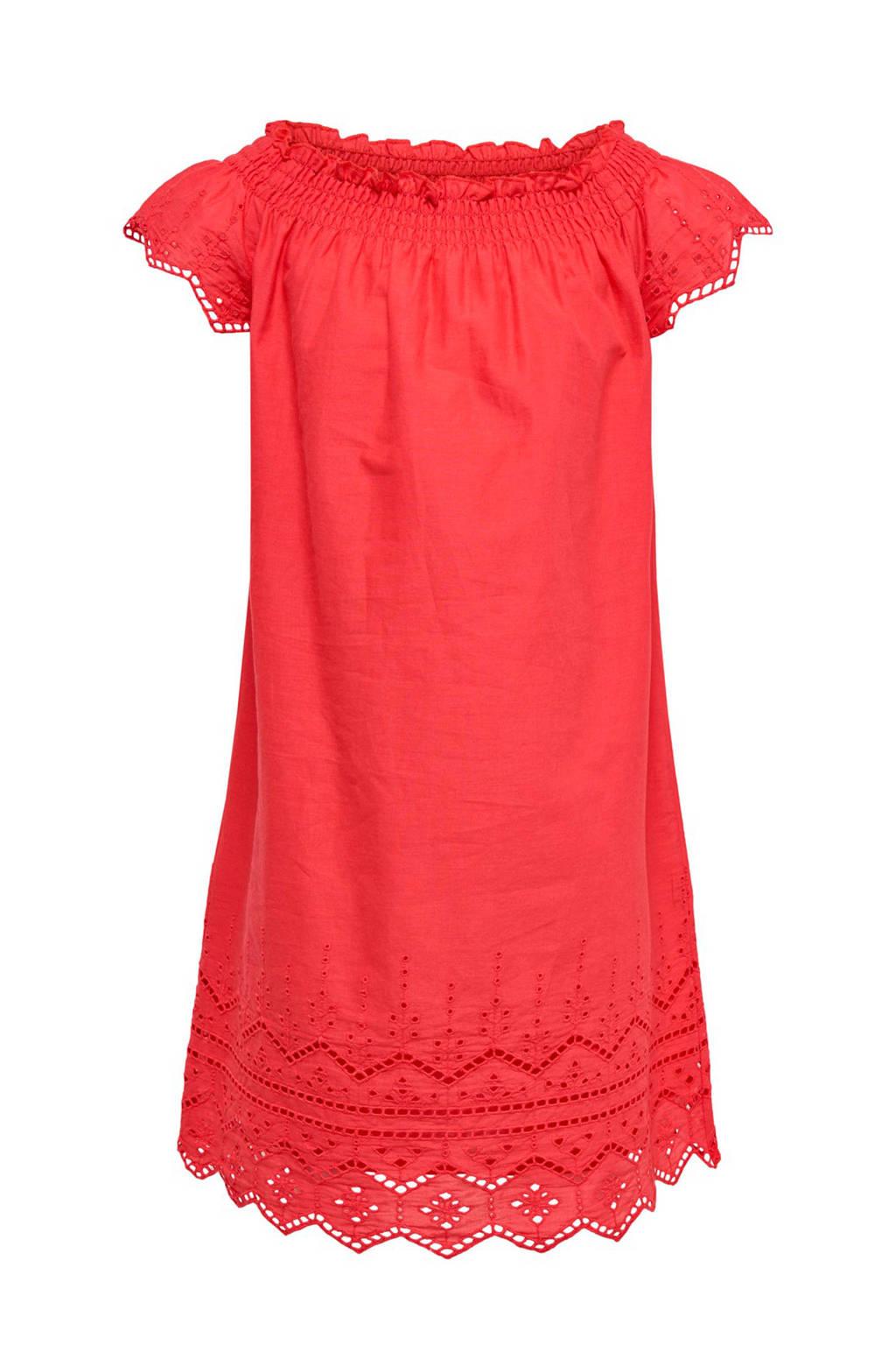 KIDSONLY jurk Ria met borduur koraalrood, Bittersweet