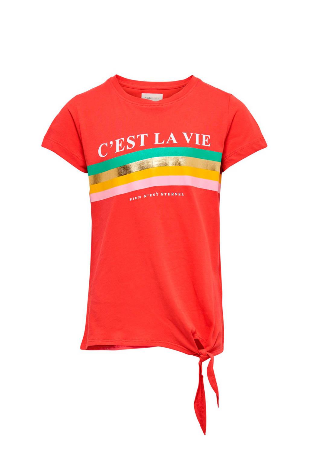 KIDSONLY T-shirt met strikdetail koraalrood, Koraalrood