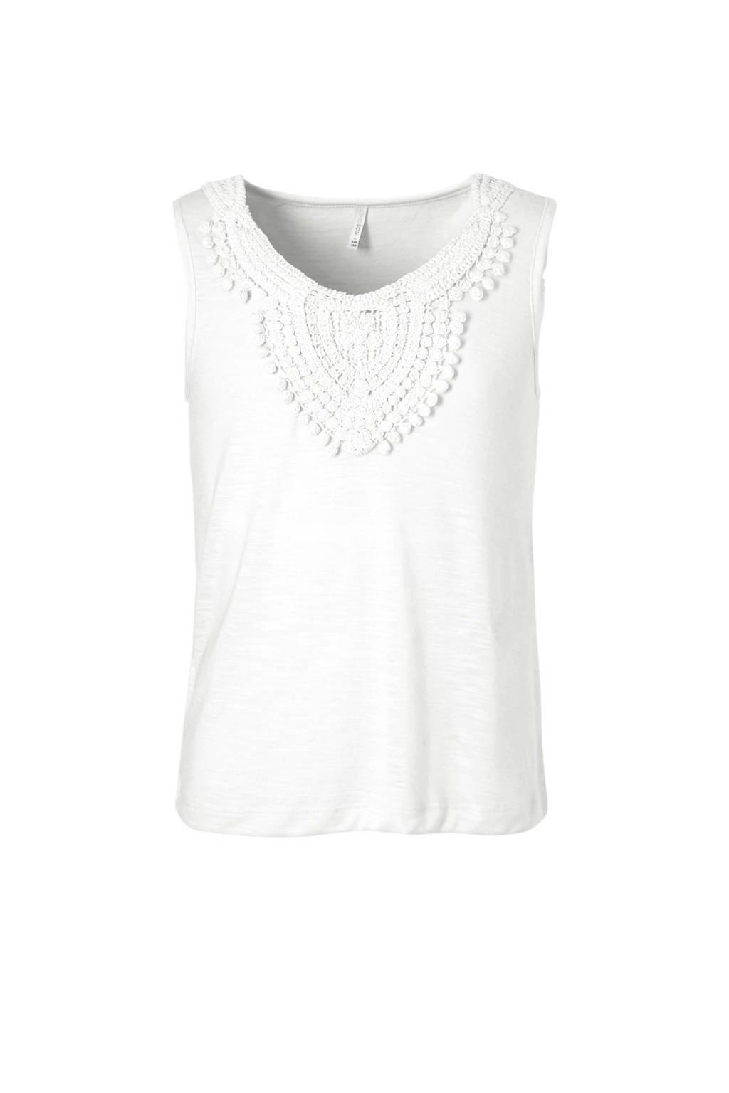 KIDSONLY mouwloze top Isa met borduursels wit, Wit