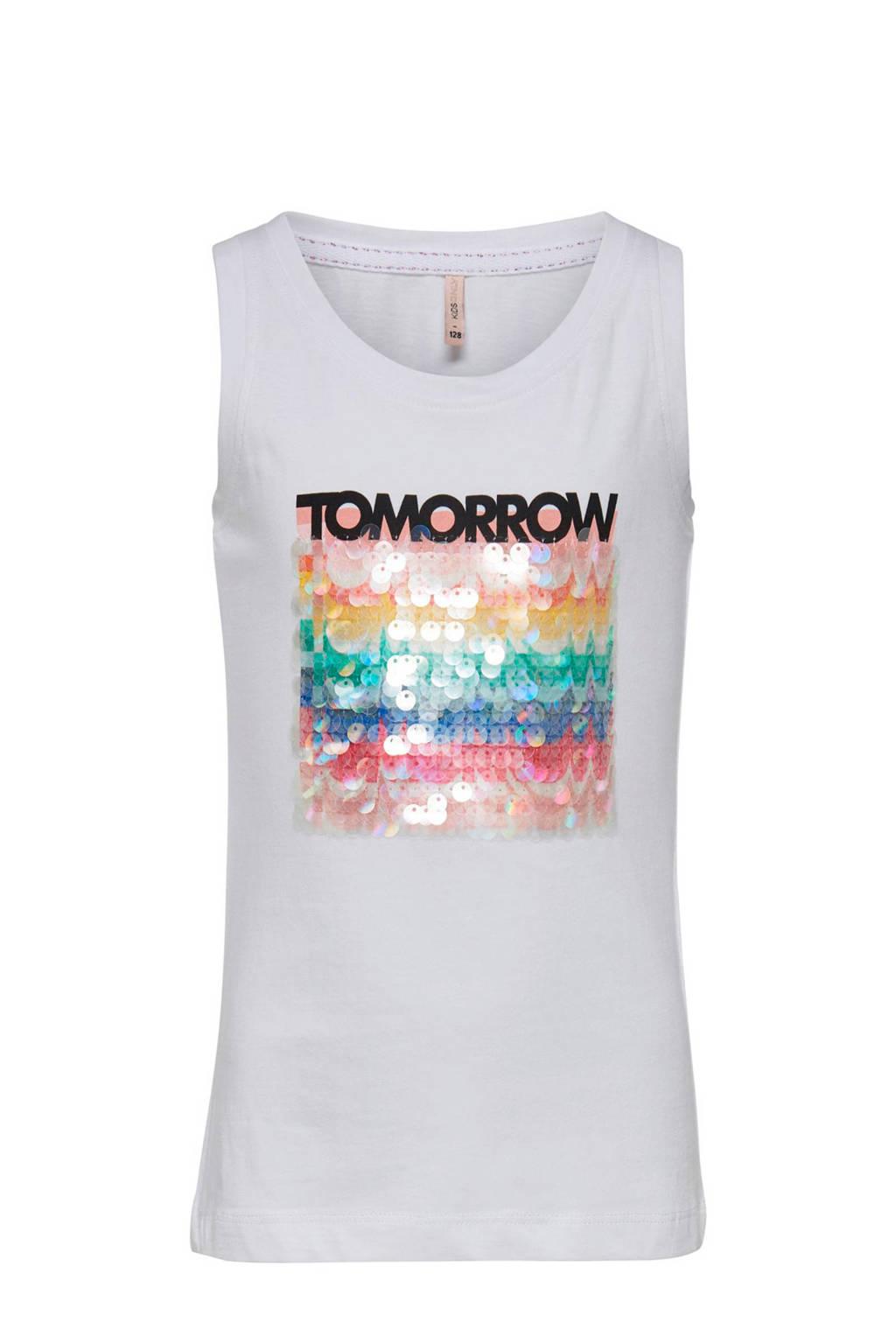KIDS ONLY mouwloos T-shirt Shawna met pailetten wit, Wit
