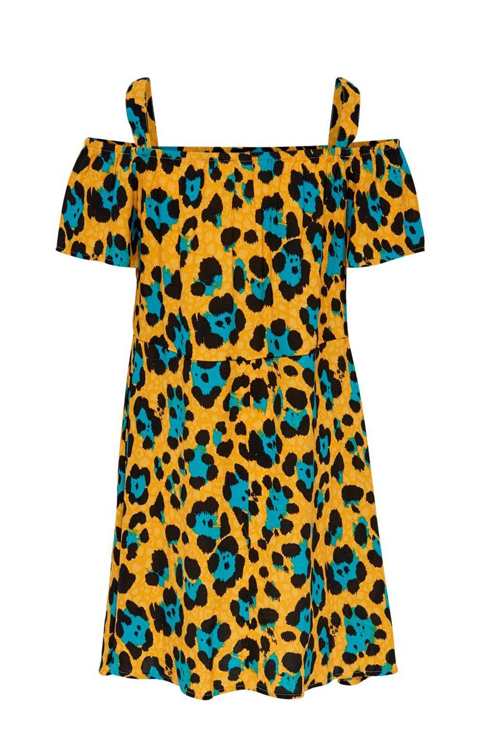 KIDS ONLY open shoulder jurk Idun met panterprint geel, Geel/Blauw/Zwart