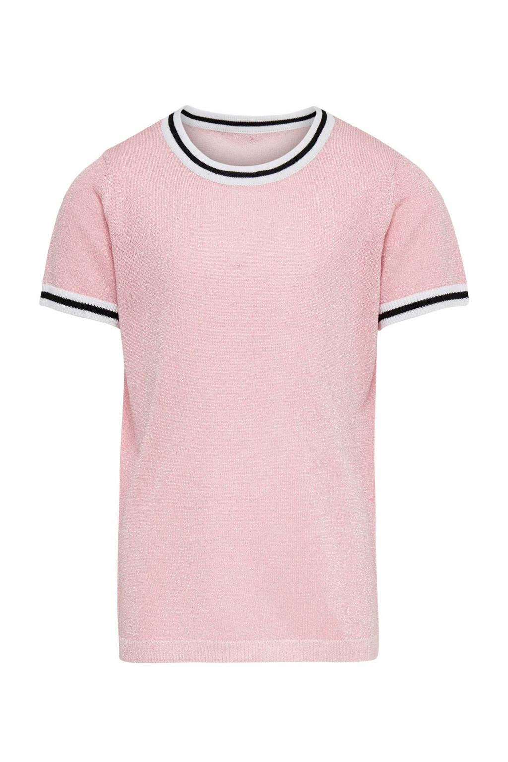 KIDSONLY gebreide glittertop Clara roze, Lichtroze