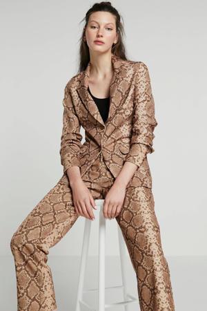 loose fit pantalon met slangenprint bruin