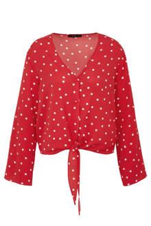 blouse met stippen rood