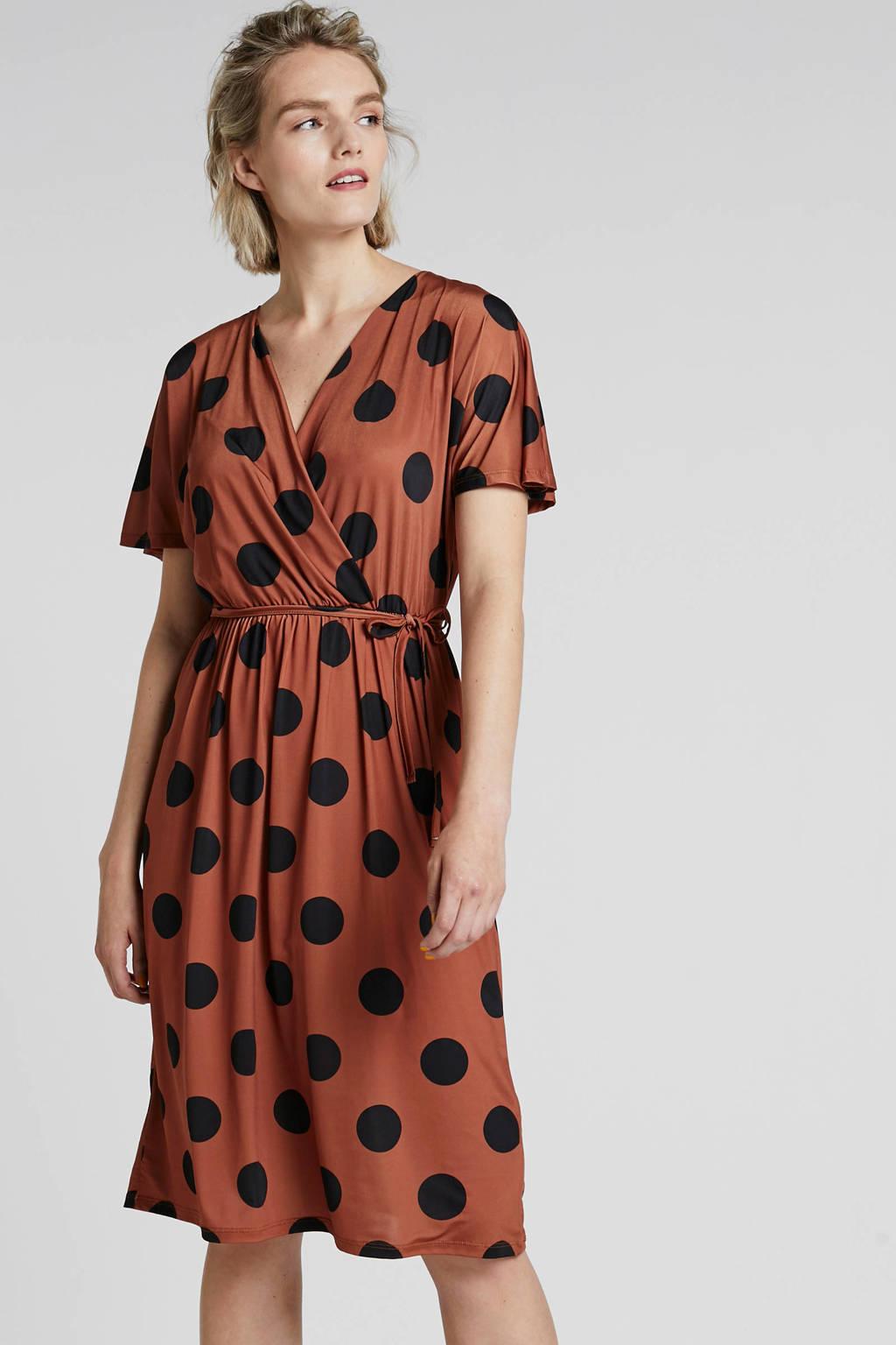 mint&berry jurk met stippen bruin, Bruin/zwart