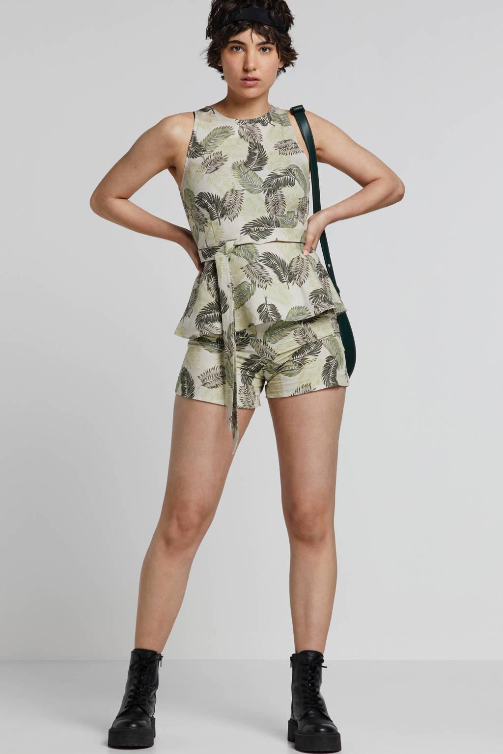mint&berry mouwloze linnen top met bladprint, Beige/groen