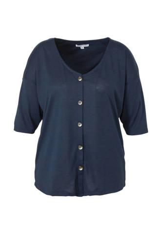 Capsule top donkerblauw met knoopdetails