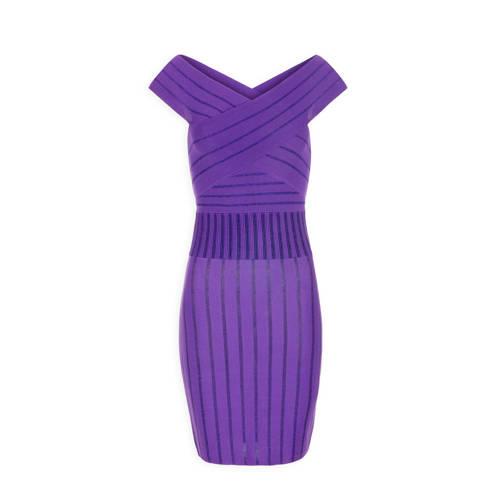 Morgan strakke jurk met gekruist detail paars
