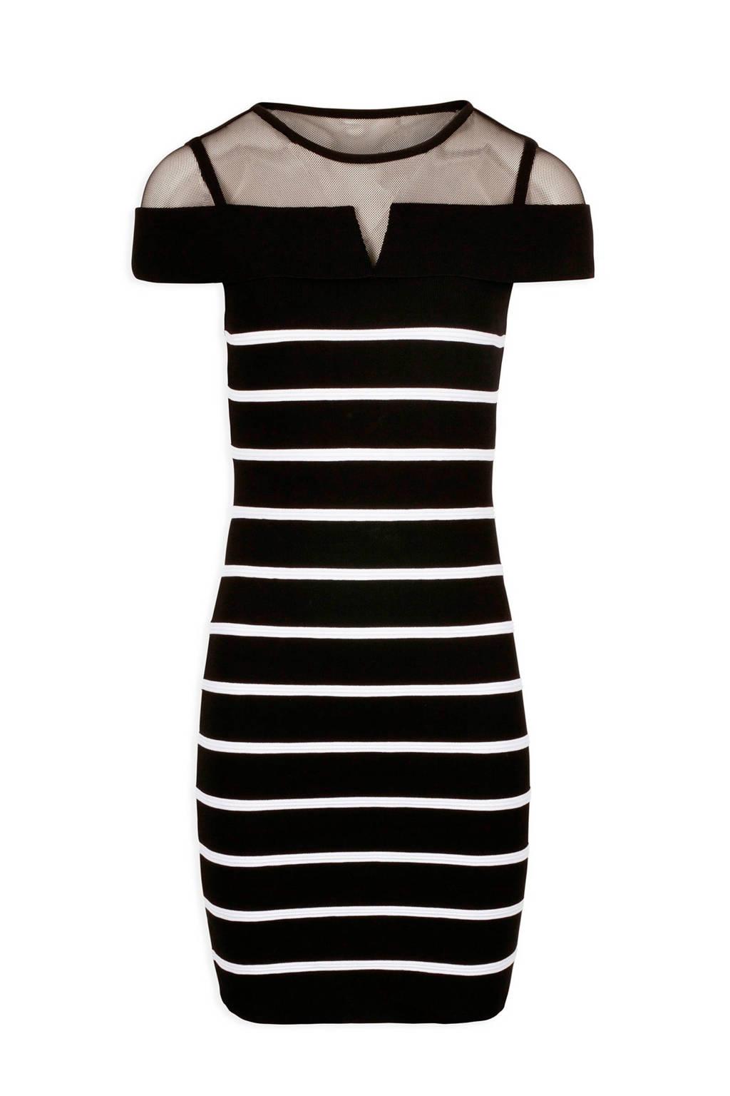 Morgan gestreepte jurk zwart, Zwart