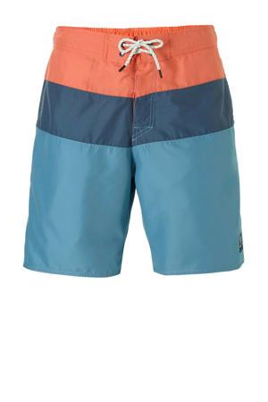 zwemshort quick dry met kleurvlakken blauw