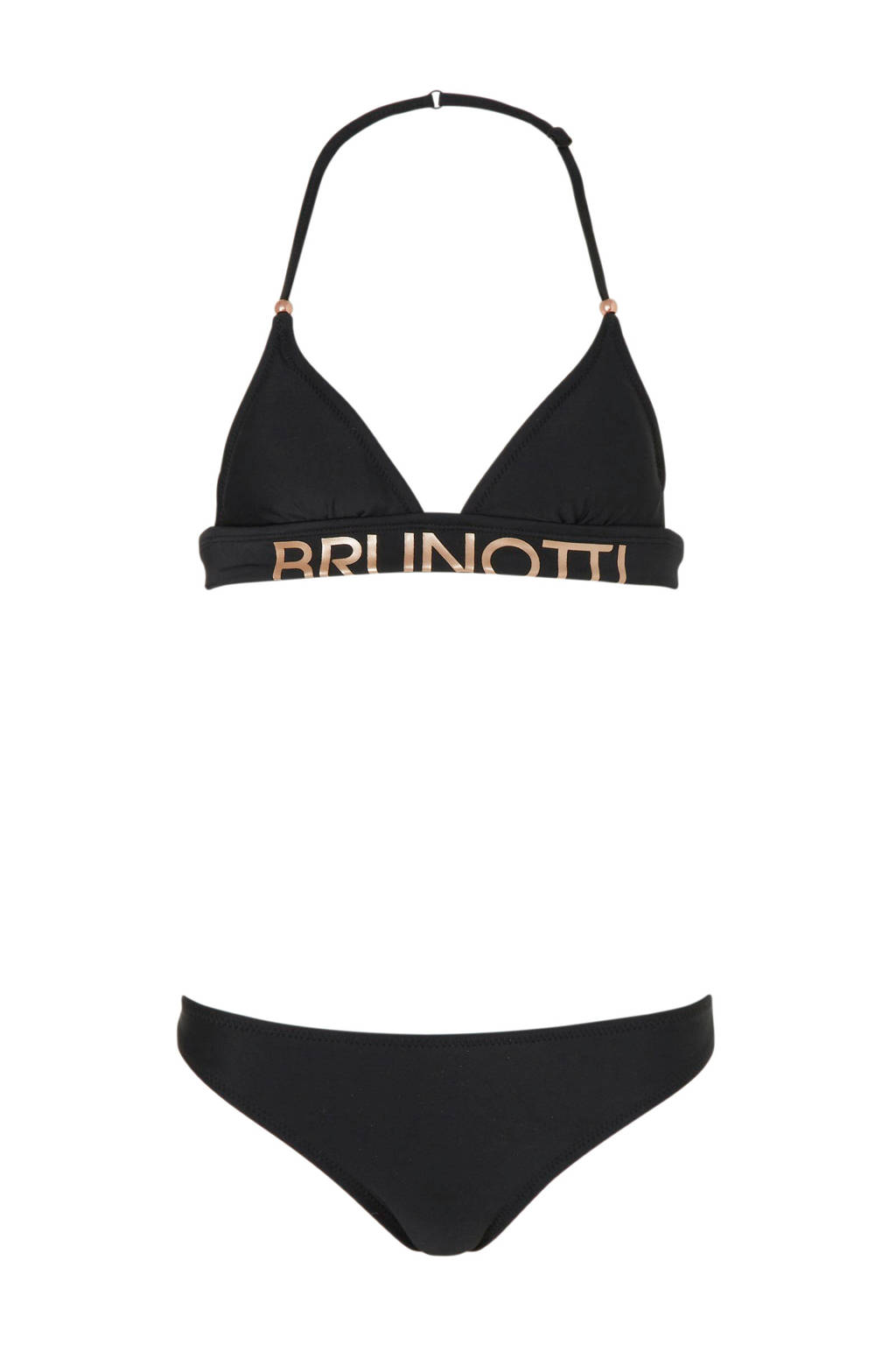 Brunotti halterbikini Irenea met logo zwart, Zwart/goud