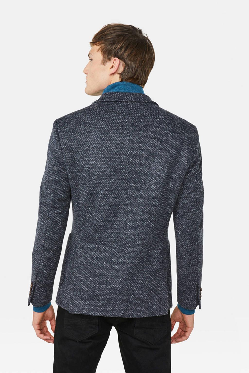 WE Fashion slim fit colbert met all over print grijs melange, Grijs melange
