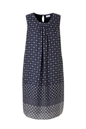 XL Yessica jurk met allover print donkerblauw