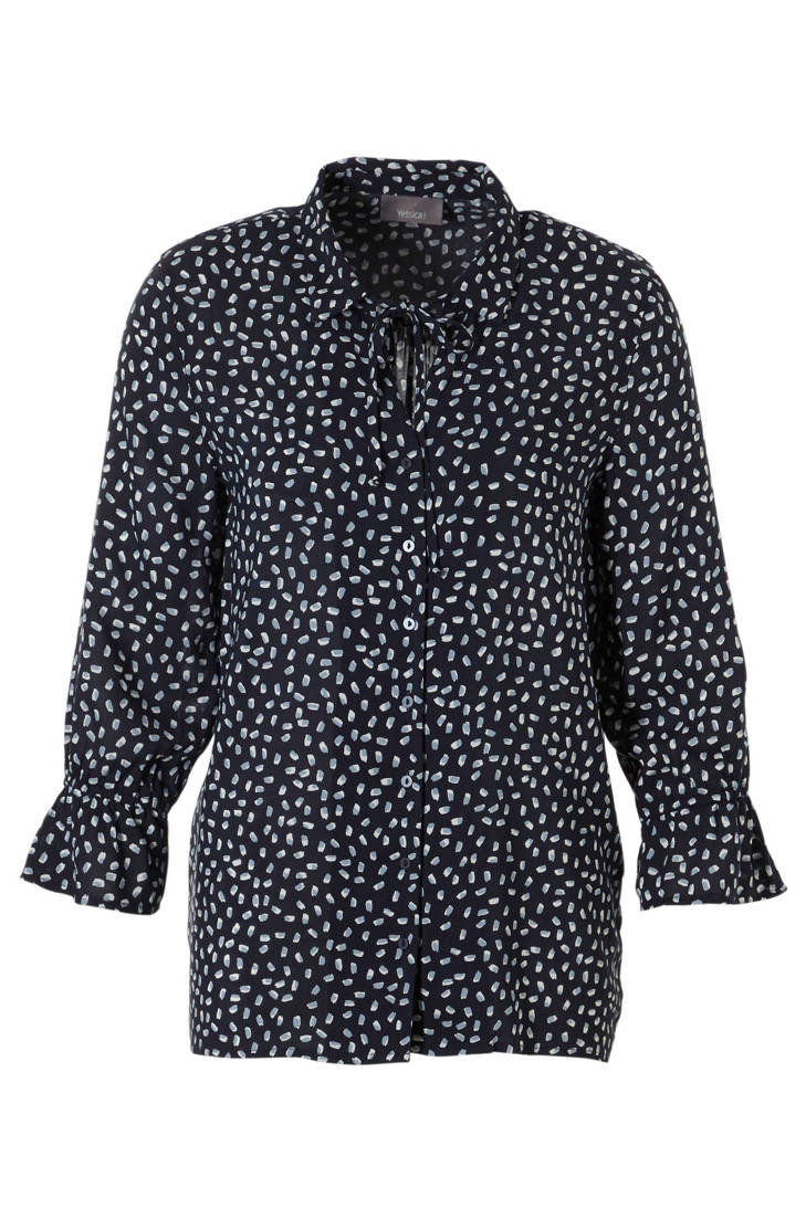 print donkerblauw allover Yessica blouse met C A wq1X8nzz4