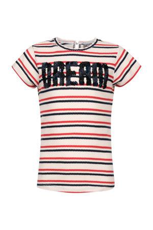 gestreept T-shirt ecru/rood/zwart