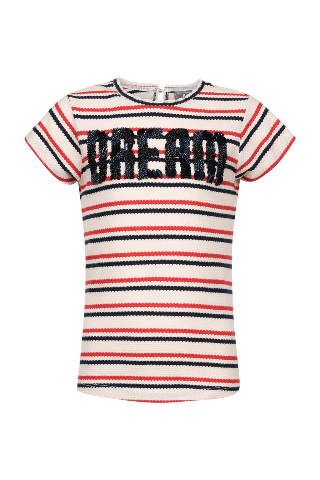 Baker Bridge gestreept T-shirt Touria met kraaltjes ecru, Ecru/rood/zwart
