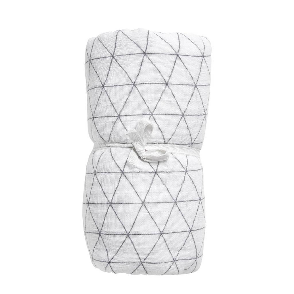 Meyco Triangle hydrofiele swaddle XL wit/grijs, Wit/grijs