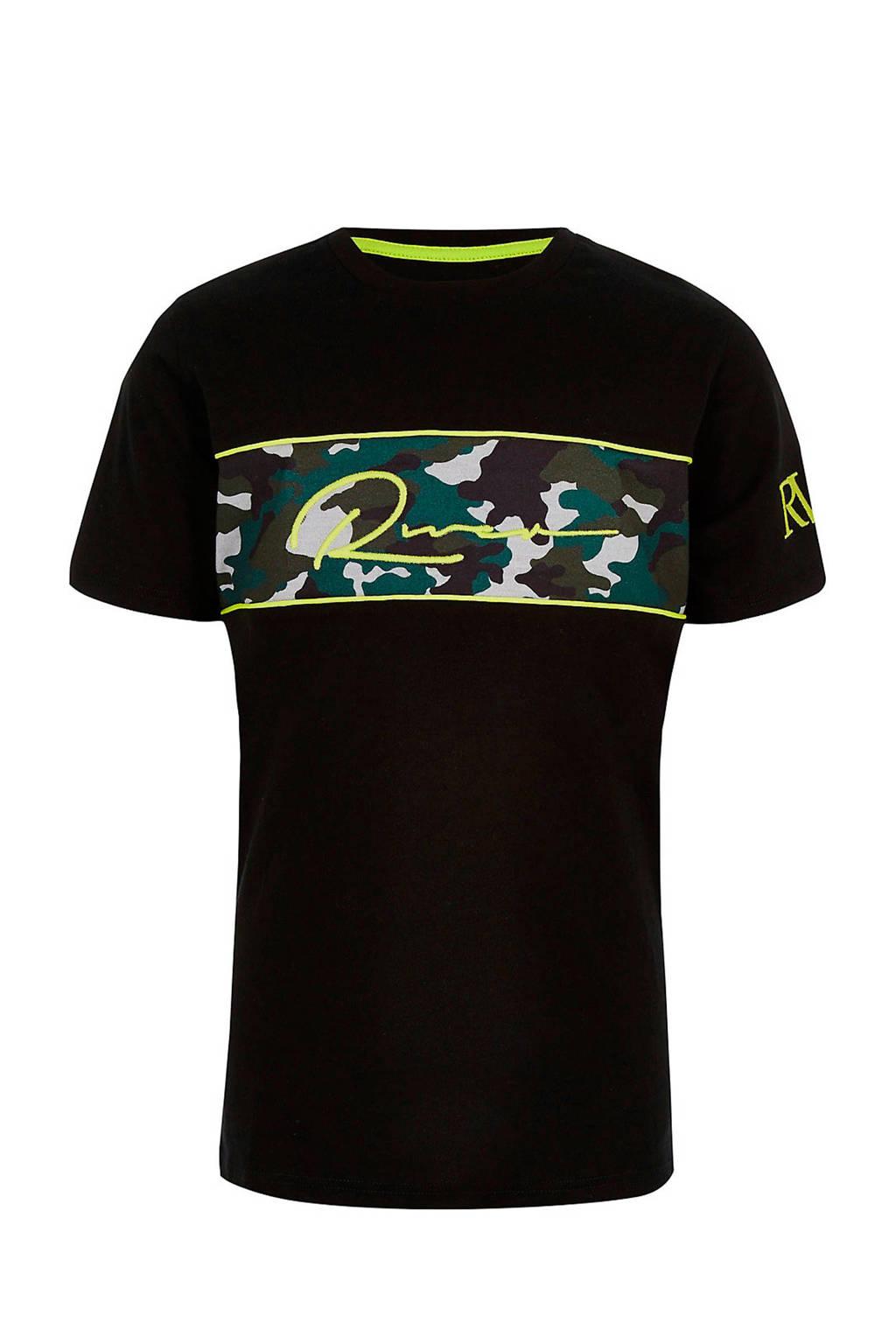 River Island T-shirt met camouflageprint zwart, Zwart
