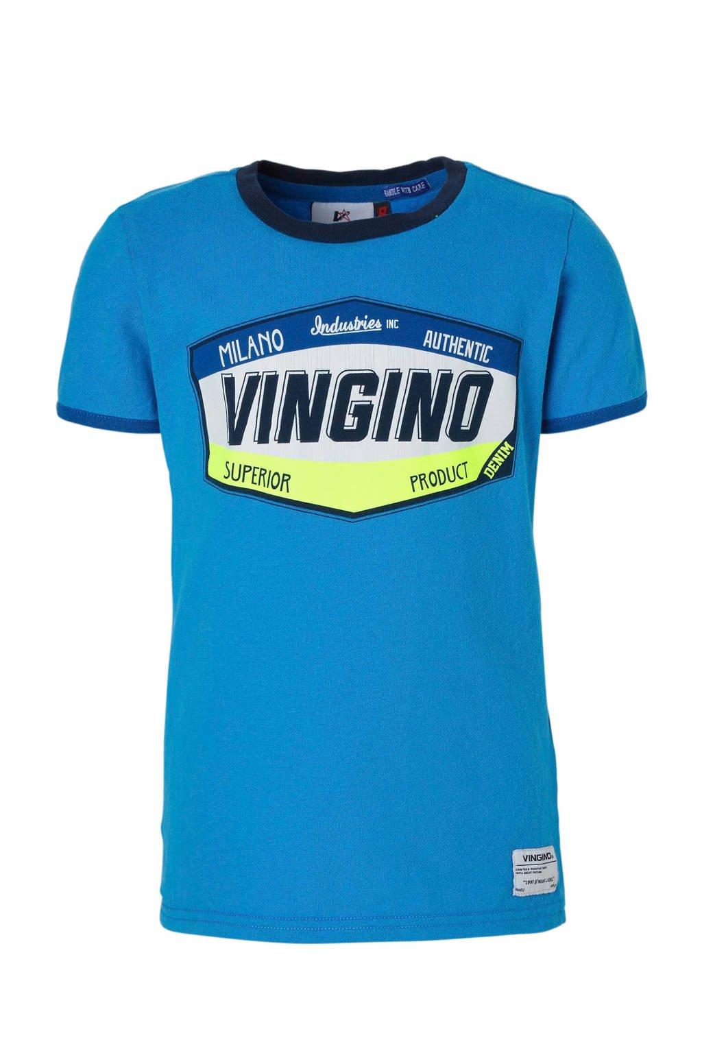 Vingino T-shirt Hantoine met print hardblauw, Hardblauw