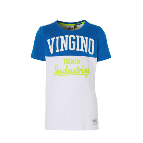 Vingino T-shirt Hermany met tekst wit/hardblauw kopen