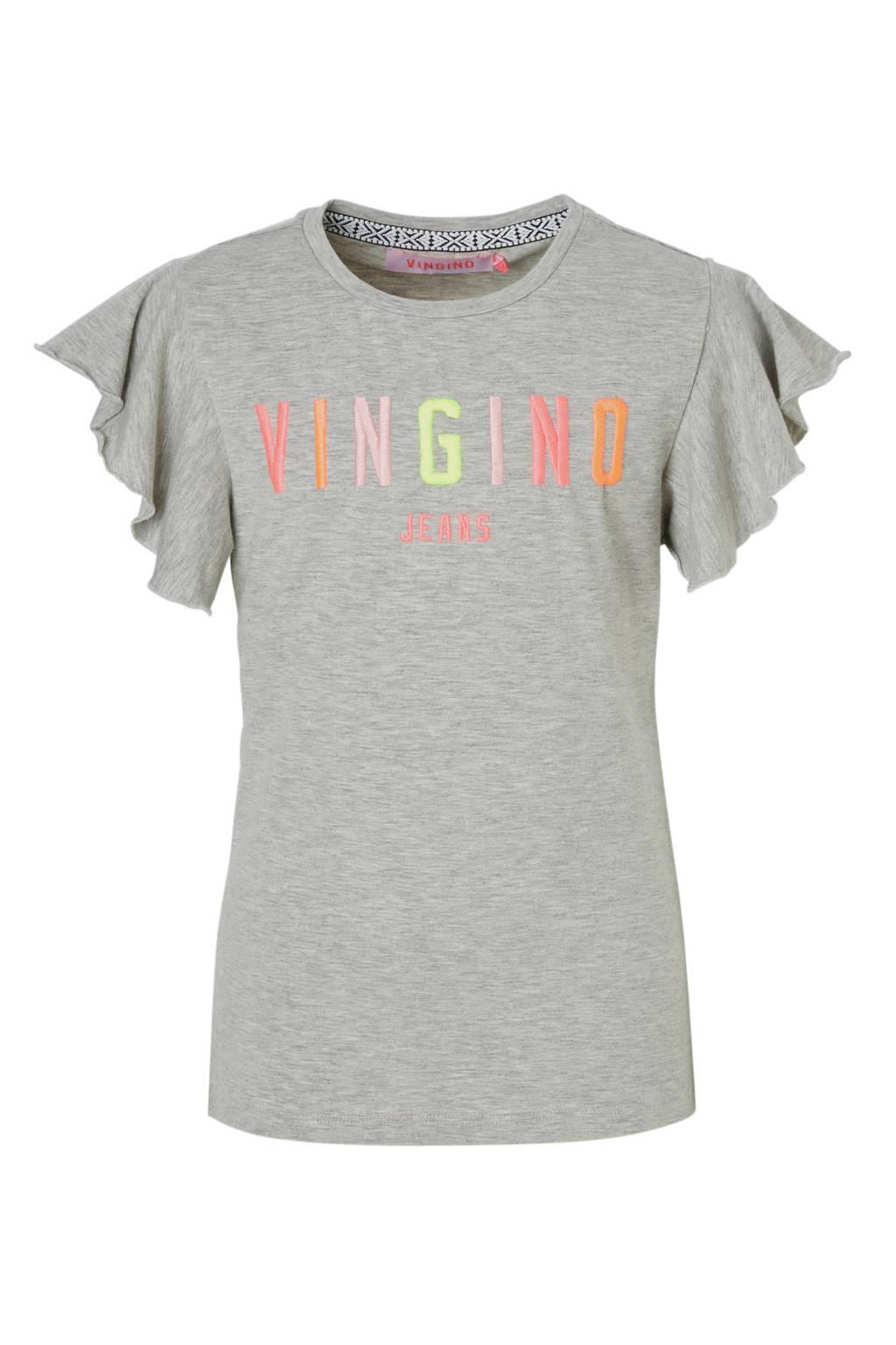 Vingino T-shirt met logo en ruches grijs melange, Grijs melange