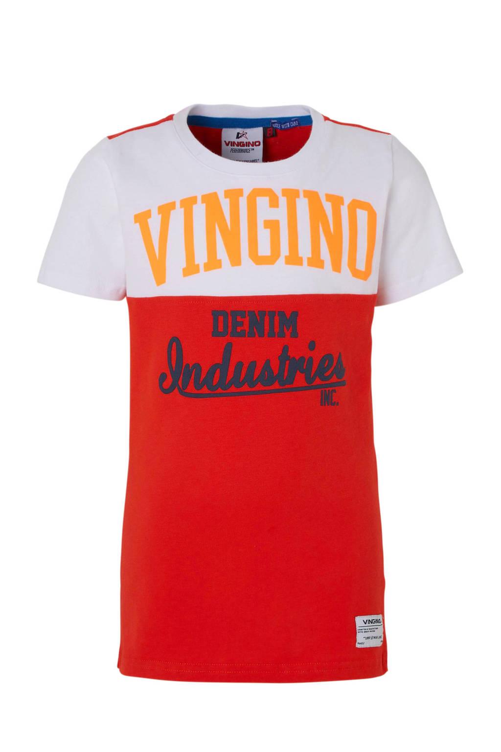 Vingino T-shirt Hermany met tekst rood/wit, Rood/wit