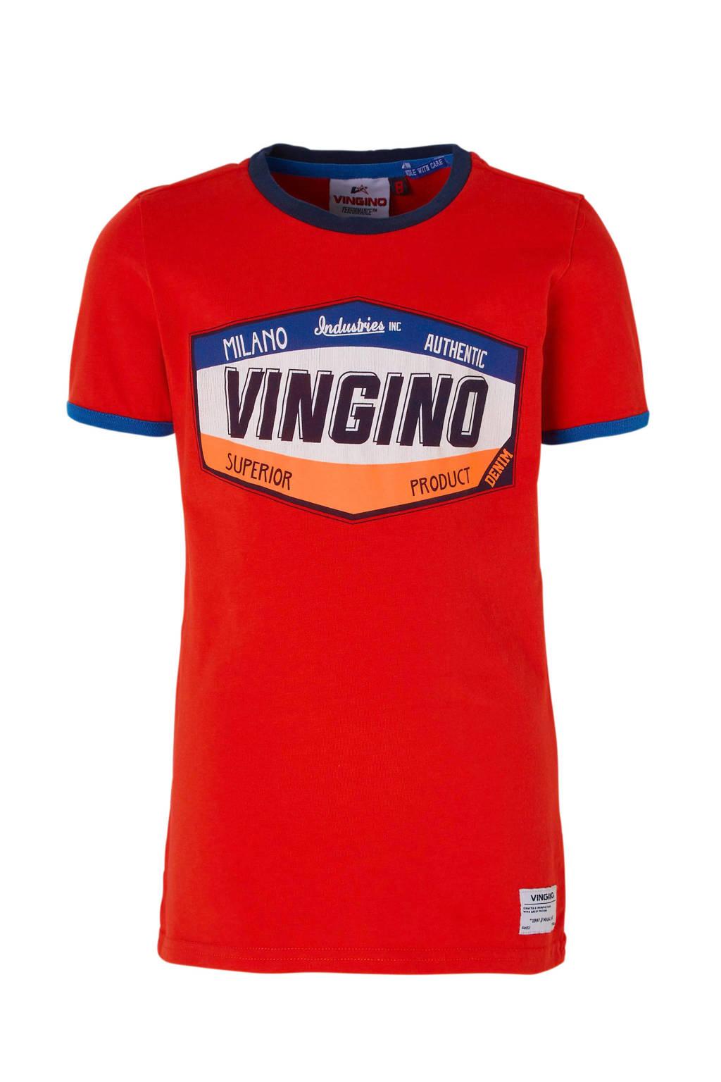Vingino T-shirt Hantoine met print rood, Rood