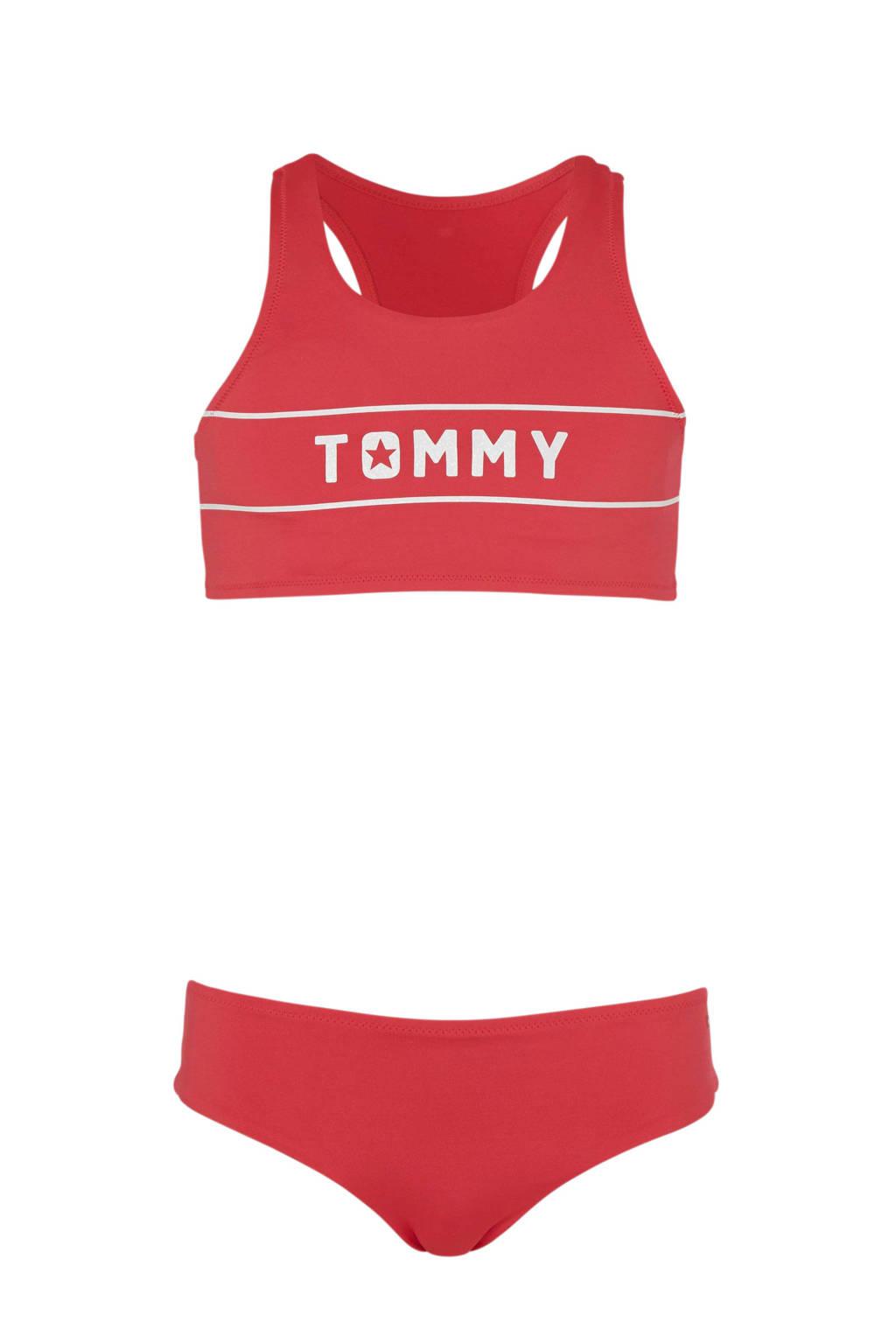 Tommy Hilfiger bikini met merknaam roze, Roze/wit