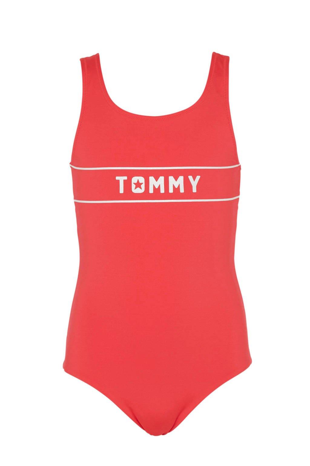 Tommy Hilfiger badpak met printopdruk roze, Roze/wit