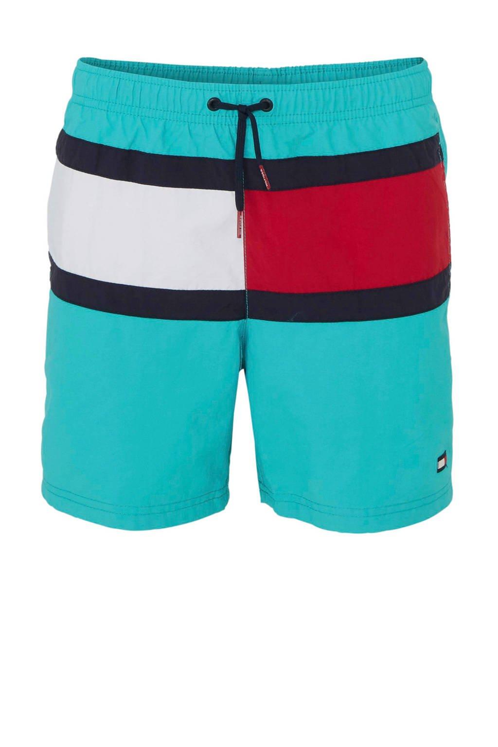 Tommy Hilfiger zwemshort met kleurvlakken turquoise, turquoise/rood/wit