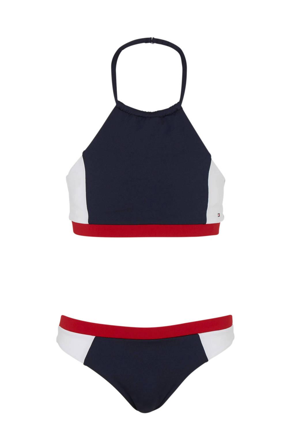 Tommy Hilfiger crop bikini met kleurvlakken marine, Marine/wit/rood