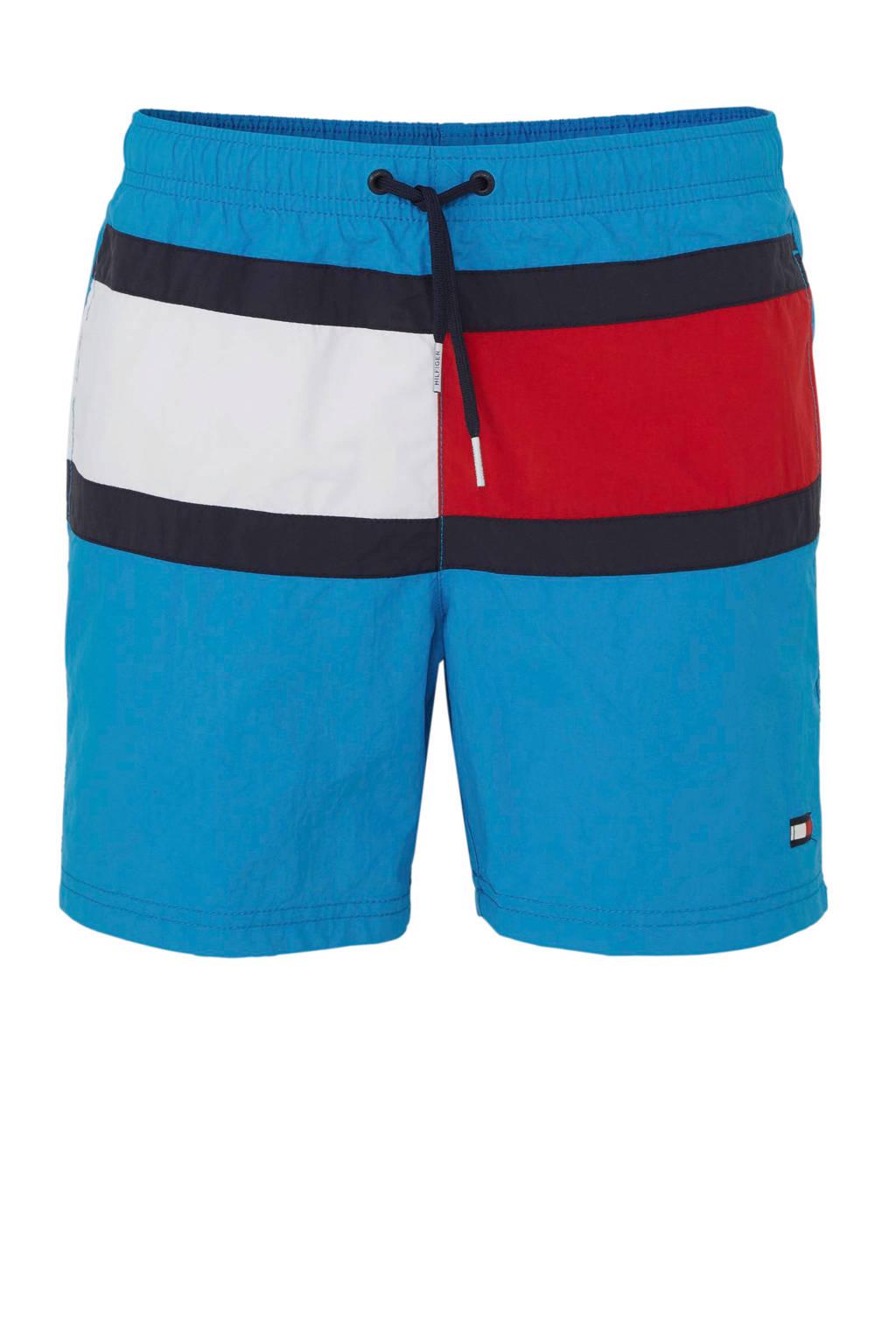 Tommy Hilfiger zwemshort met kleurvlakken blauw, Blauw/rood/wit