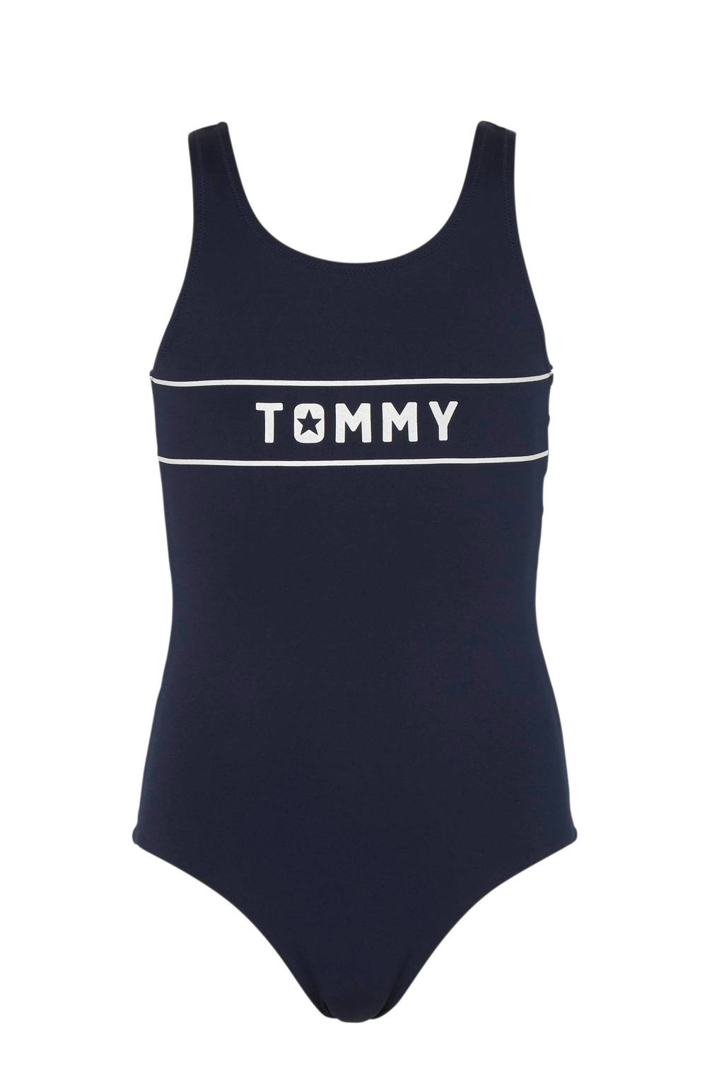 Tommy Hilfiger badpak met printopdruk marine, Marine/wit