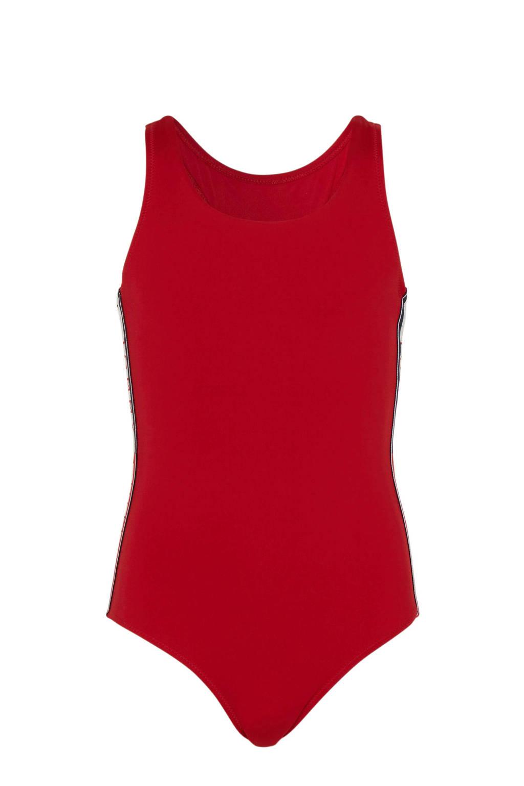Tommy Hilfiger badpak met zijbies rood, Rood