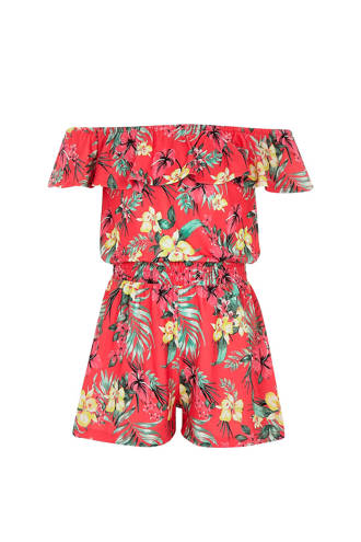 gebloemde jumpsuit roodroze