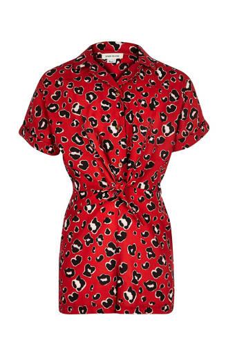 jumpsuit met panterprint rood