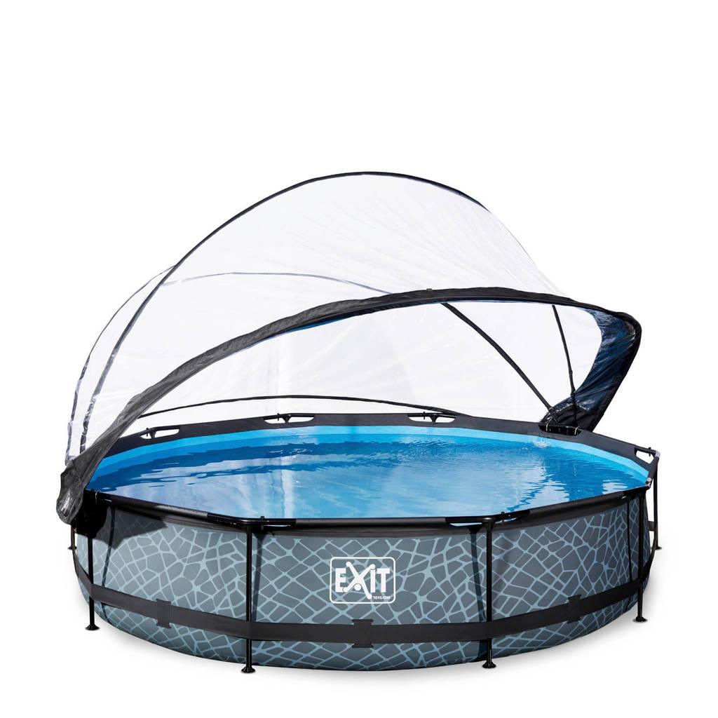 EXIT Frame Pool ø360x76cm grijs met overkapping, Grijs