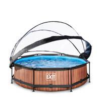 EXIT Frame Pool ø300x76cm houtbruin met overkapping, Bruin