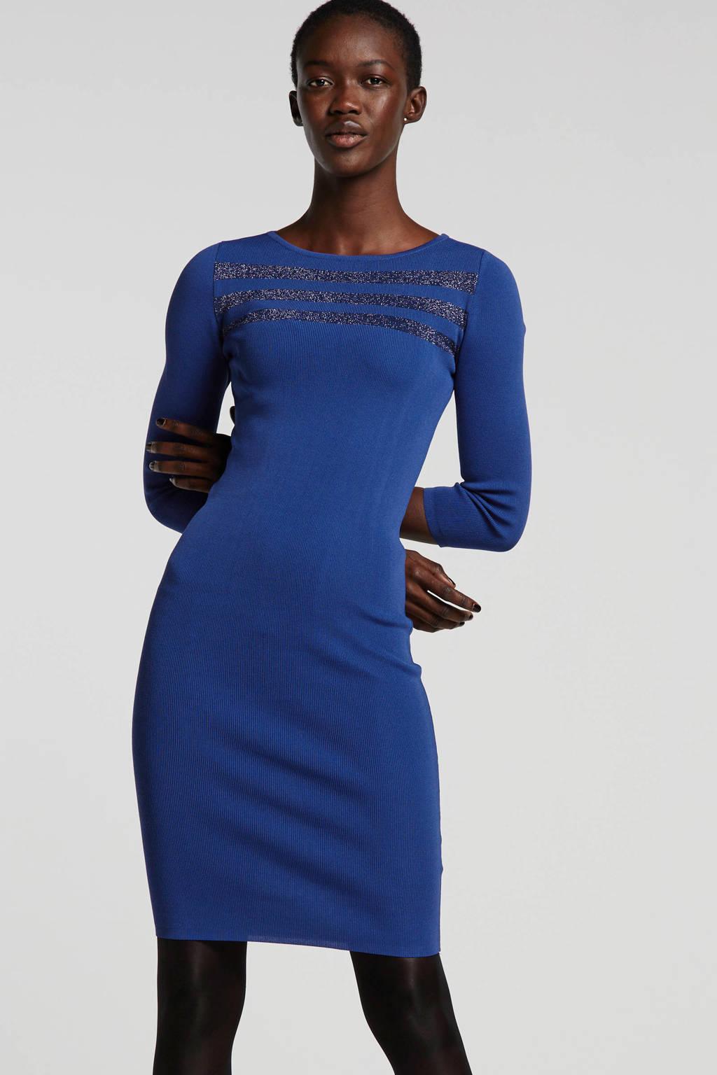 Ruby gebreide jurk kobaltblauw met lurex streep, Kobaltblauw