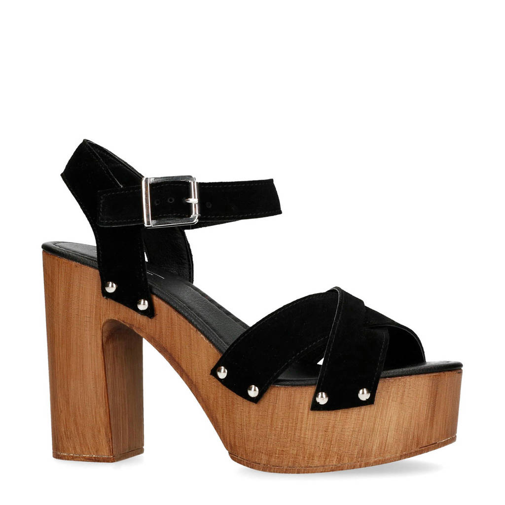 Sacha suède sandalettes zwart, Zwart