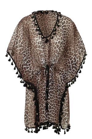 kaftan met luipaardprint bruin