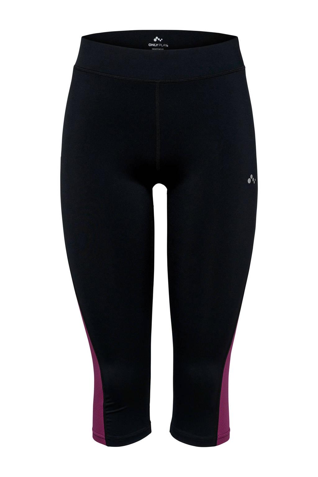 Only Play Curvy sportbroek zwart/paars, Zwart/paars