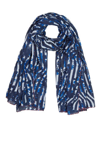 gebloemde sjaal blauw