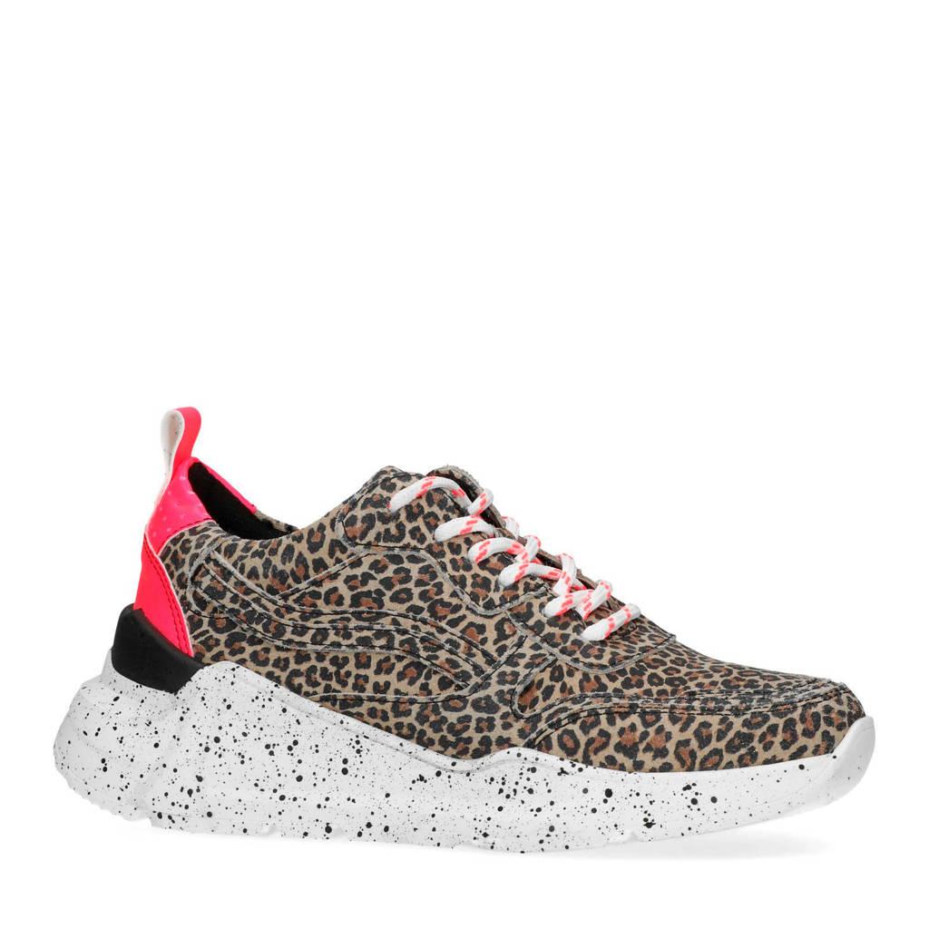 Sacha  suède dad sneakers met panterprint, Buin/Roze